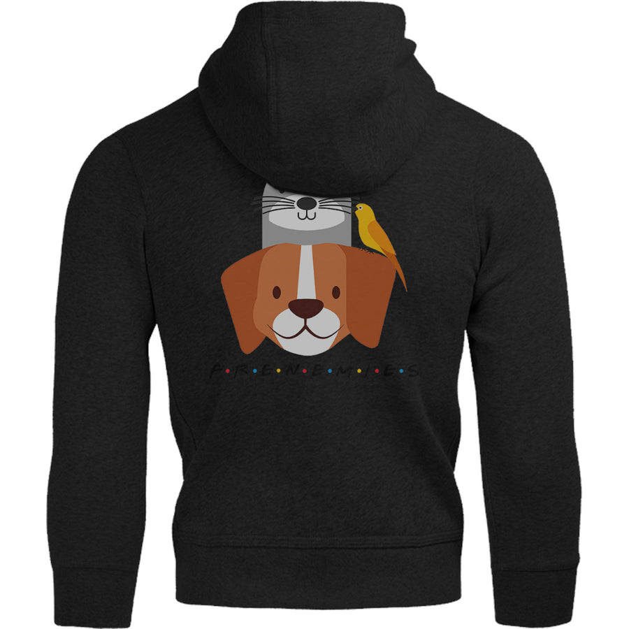Frenemies Cat Dog Bird - Adult & Youth Hoodie - Graphic Tees Australia