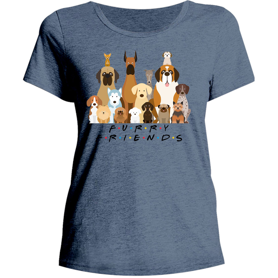Furry Friends Group of Dogs - Ladies Relaxed Fit Tee - Graphic Tees Australia