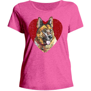 German Shepherd Heart - Ladies Relaxed Fit Tee - Graphic Tees Australia