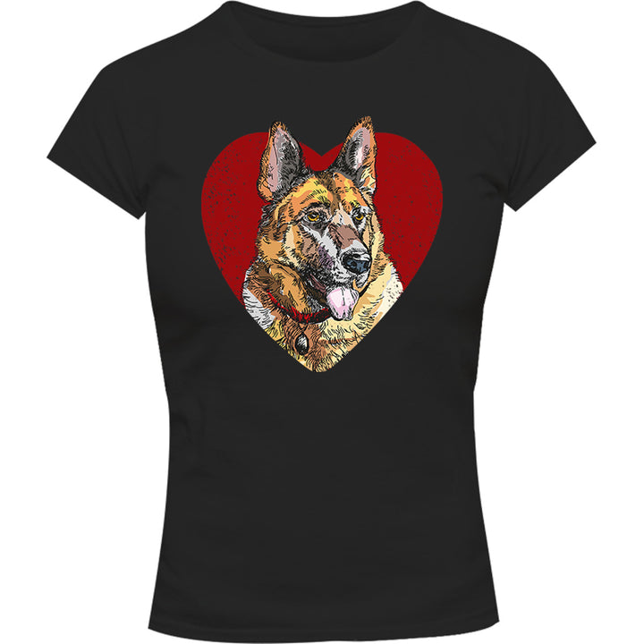 German Shepherd Heart - Ladies Slim Fit Tee - Graphic Tees Australia