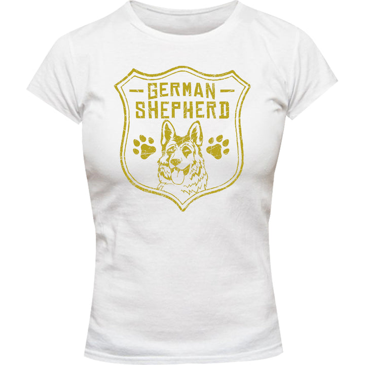 German Shepherd Shield - Ladies Slim Fit Tee - Graphic Tees Australia