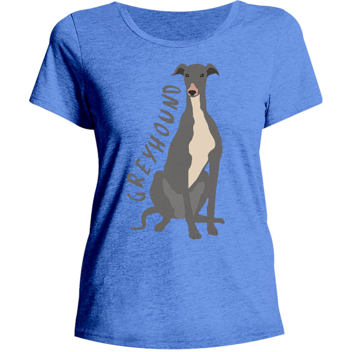 Greyhound Cartoon - Ladies Relaxed Fit Tee - Graphic Tees Australia