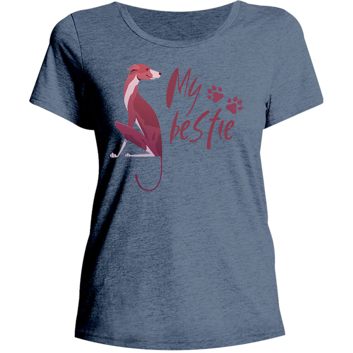 Greyhound My Bestie - Ladies Relaxed Fit Tee - Graphic Tees Australia