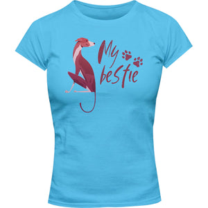 Greyhound My Bestie - Ladies Slim Fit Tee - Graphic Tees Australia