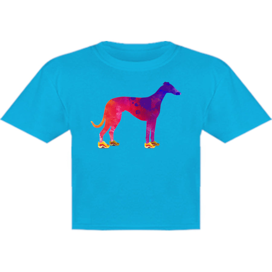 Greyhound In Running Shoes - Youth & Infant Tee - Graphic Tees Australia