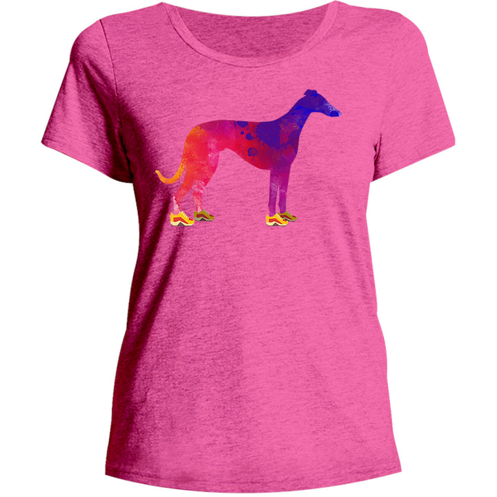 Greyhound In Running Shoes - Ladies Relaxed Fit Tee - Graphic Tees Australia