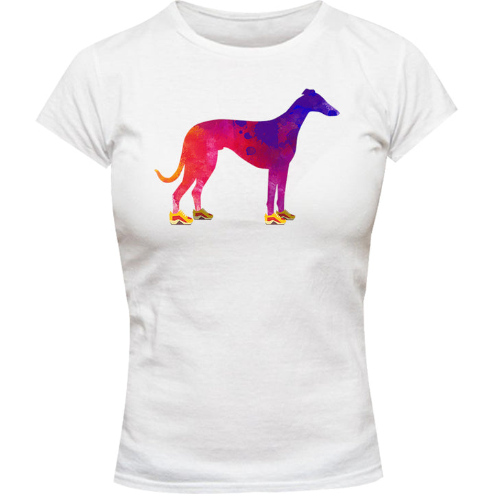 Greyhound In Running Shoes - Ladies Slim Fit Tee - Graphic Tees Australia