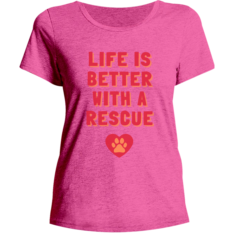 Life Is Better With A Rescue Phoenix Animal Rescue Horsham front & back - Ladies Relaxed Fit Tee