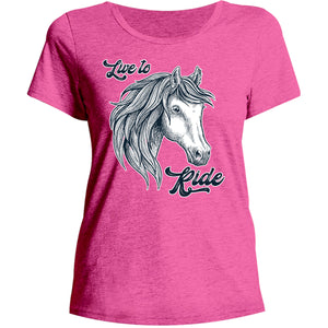 Horse Head Live to Ride - Ladies Relaxed Fit Tee - Graphic Tees Australia