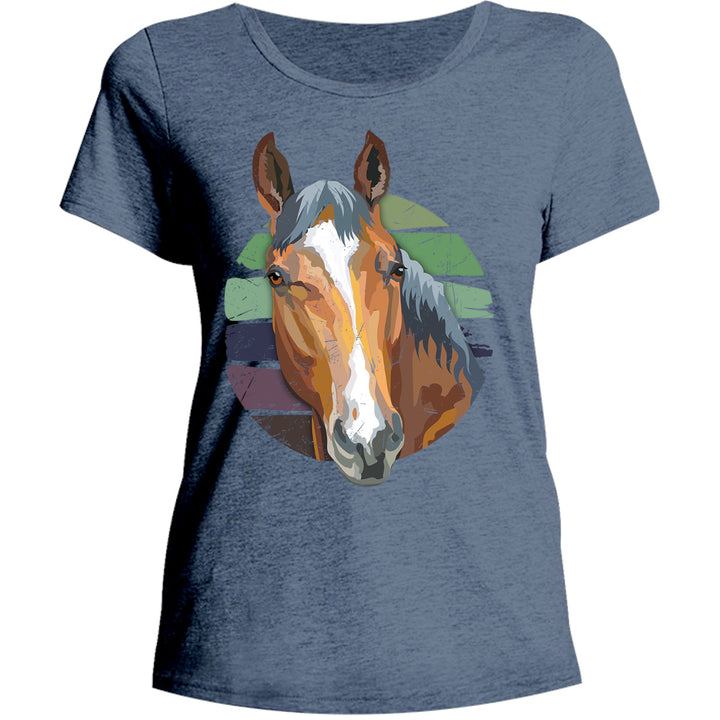 Horse Retro Style - Ladies Relaxed Fit Tee - Graphic Tees Australia