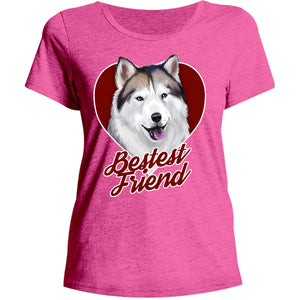 Husky Bestest Friend - Ladies Relaxed Fit Tee - Graphic Tees Australia