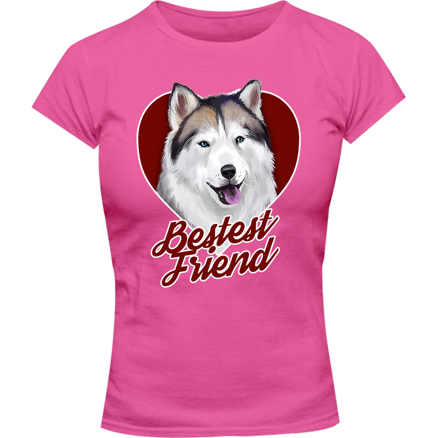Husky Bestest Friend - Ladies Slim Fit Tee - Graphic Tees Australia