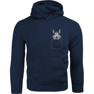 Husky in Pocket - Adult & Youth Hoodie - Graphic Tees Australia
