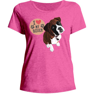 I Love My Boxer - Ladies Relaxed Fit Tee - Graphic Tees Australia