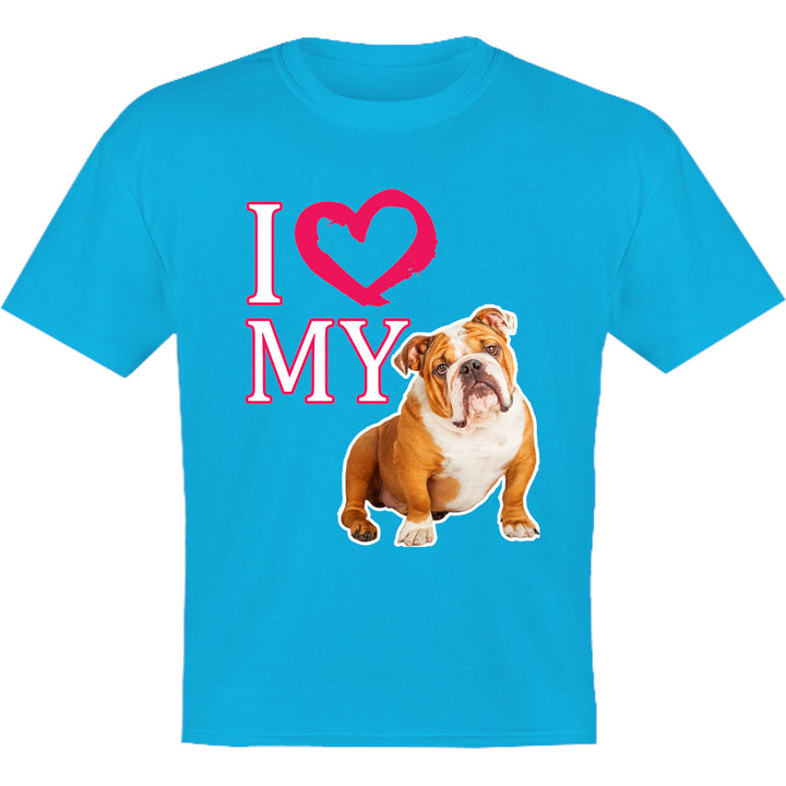 I Love My Bulldog - Youth & Infant Tee - Graphic Tees Australia