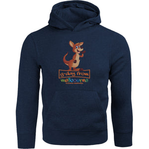 Kangaroo G'day From Melbourne - Adult & Youth Hoodie - Graphic Tees Australia