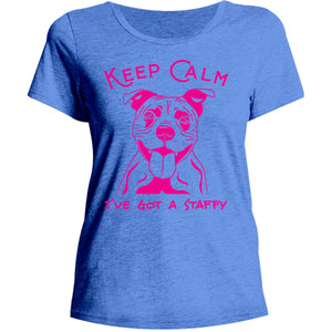 Keep Calm I've Got A Staffy - Ladies Relaxed Fit Tee - Graphic Tees Australia
