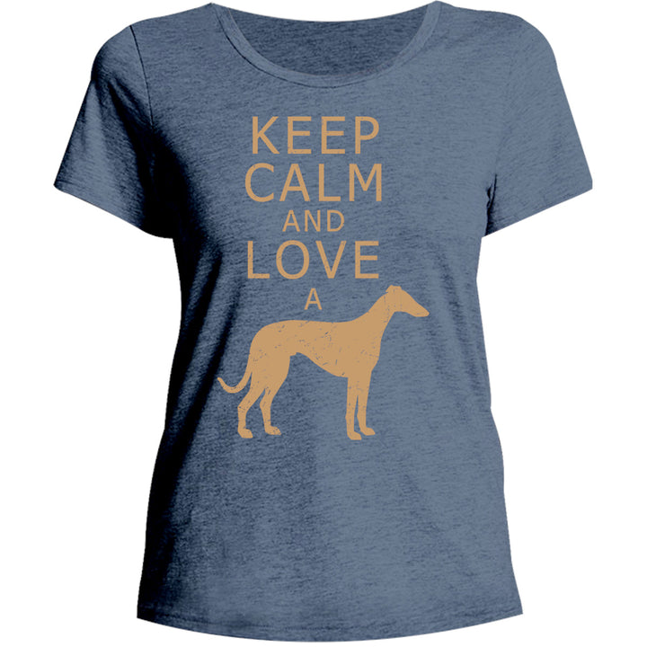 Keep Calm Love A Greyhound - Ladies Relaxed Fit Tee - Graphic Tees Australia