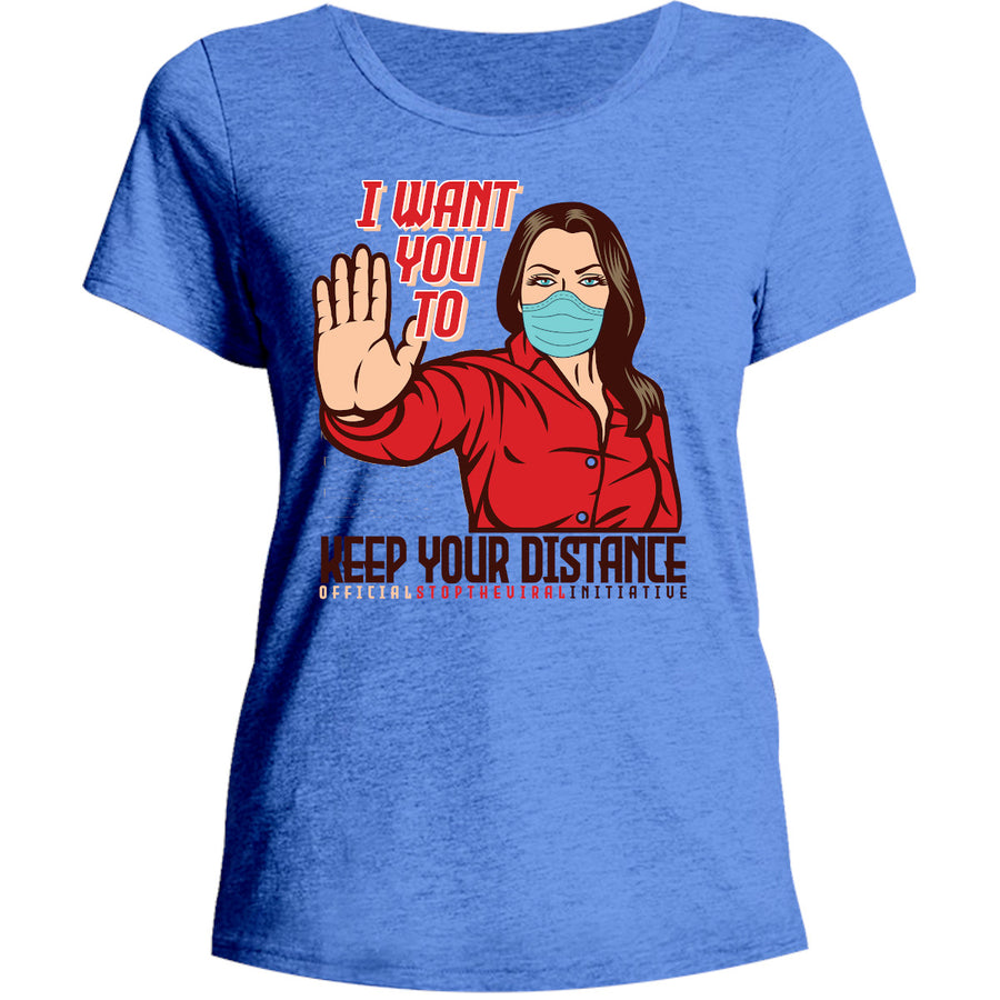 Keep Your Distance - Ladies Relaxed Fit Tee - Graphic Tees Australia