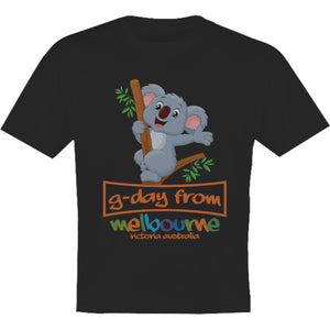 Koala G'day From Melbourne - Youth & Infant Tee - Graphic Tees Australia