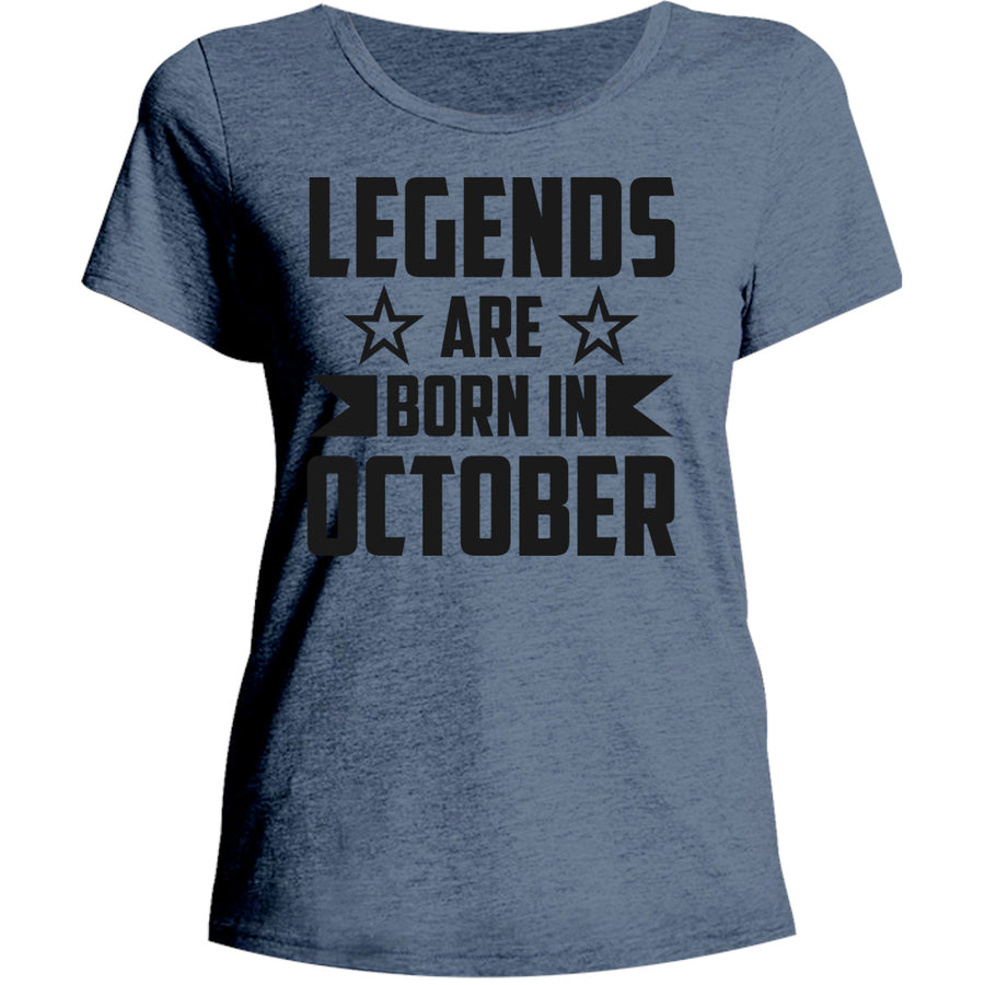 Legends Are Born In October - Ladies Relaxed Fit Tee - Graphic Tees Australia
