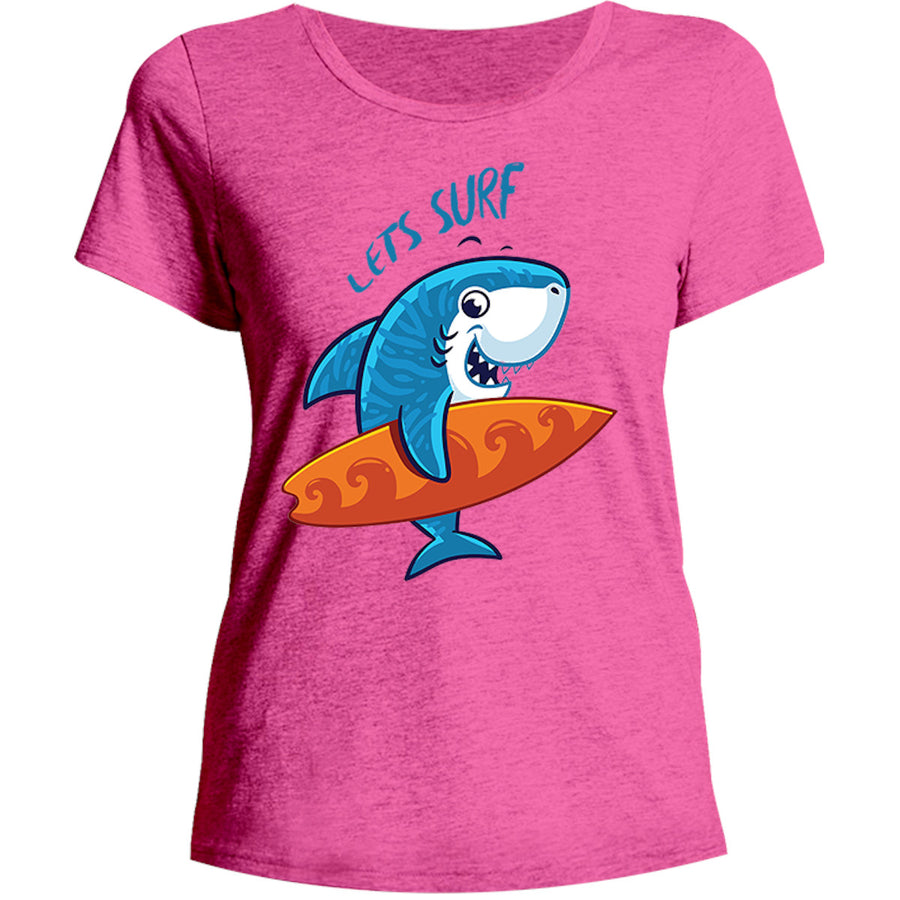 Lets Surf - Ladies Relaxed Fit Tee - Graphic Tees Australia