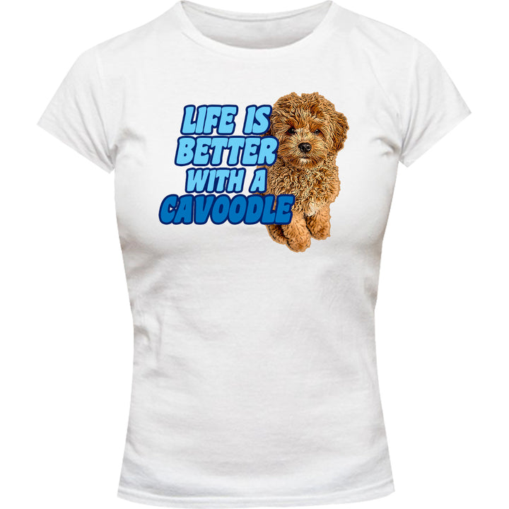 Life Is Better With A Cavoodle - Ladies Slim Fit Tee - Graphic Tees Australia