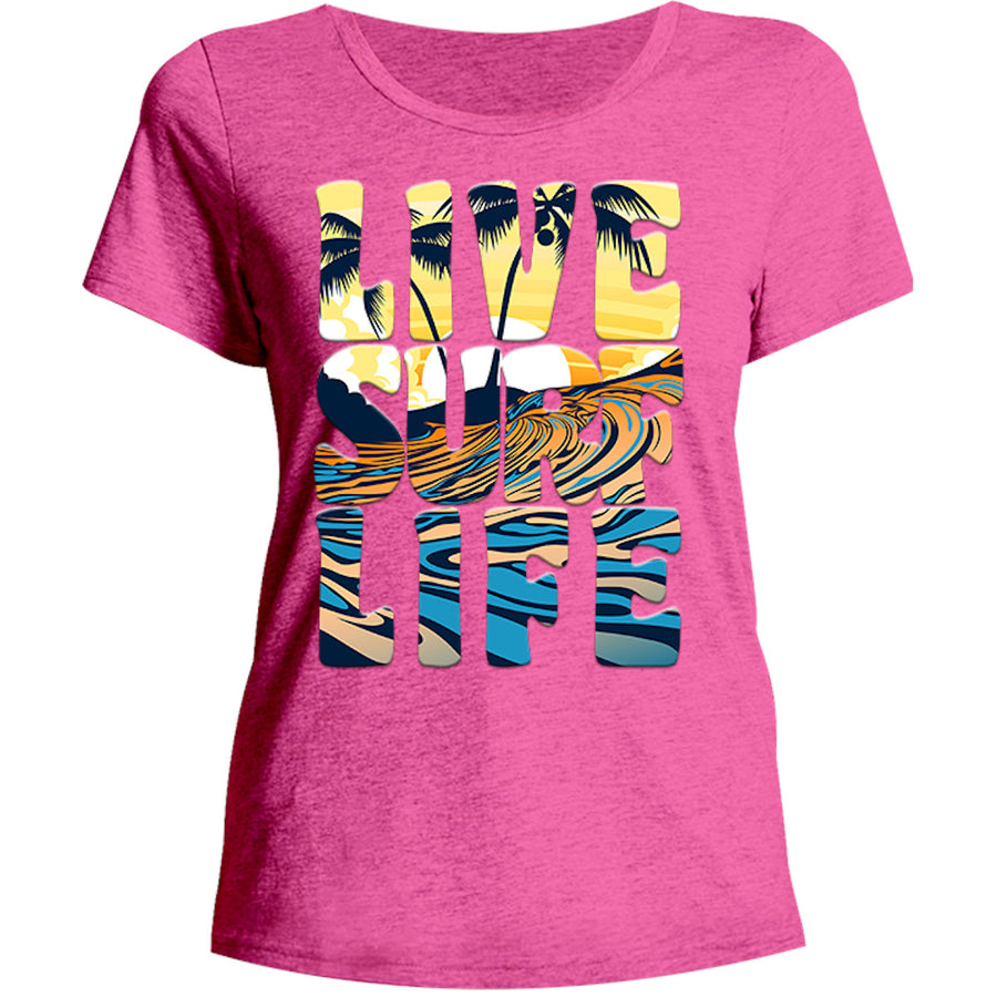 Live Surf Life - Ladies Relaxed Fit Tee - Graphic Tees Australia