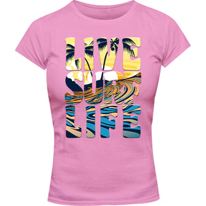 Live Surf Life - Ladies Slim Fit Tee - Graphic Tees Australia