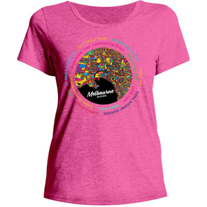 Melbourne Australia Colour Aerial Map - Ladies Relaxed Fit Tee - Graphic Tees Australia