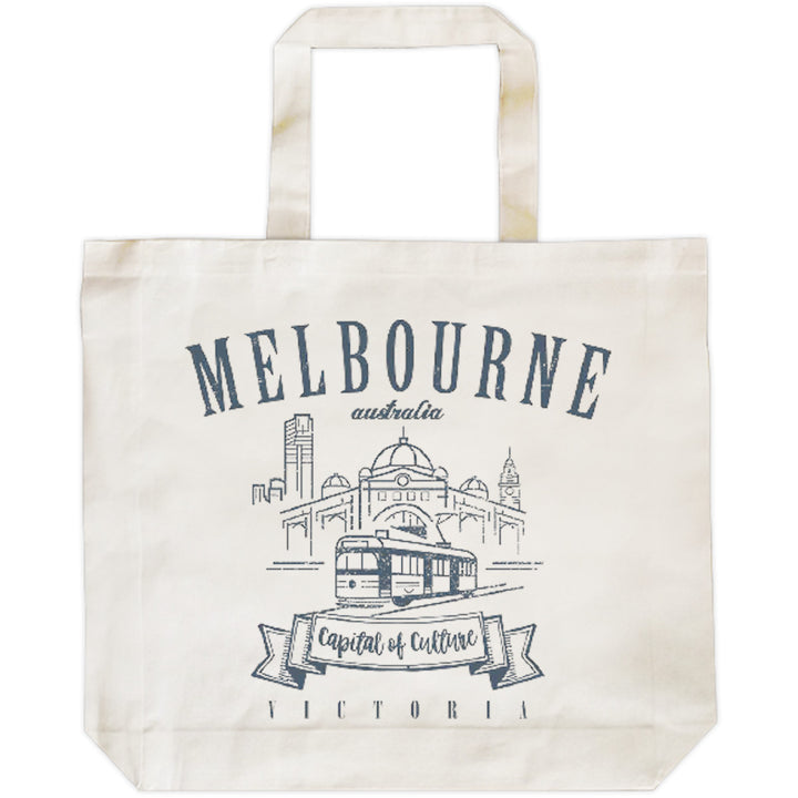 Melbourne Australia Vintage mono - Shopping Bag - Graphic Tees Australia