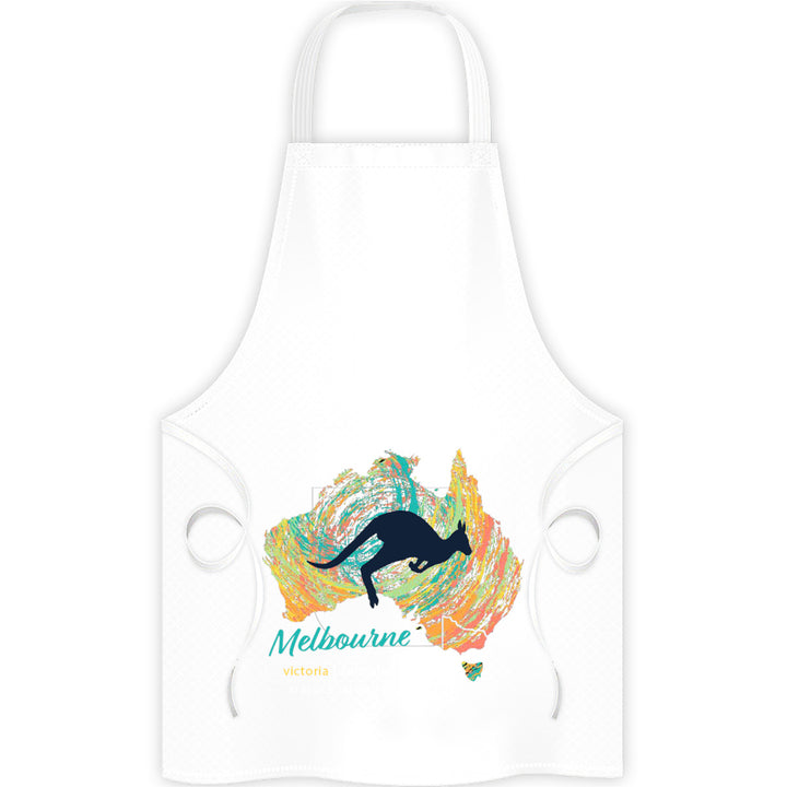 Melbourne Map Roo Swirl - Apron - Graphic Tees Australia