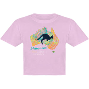 Melbourne Map Roo Swirl - Youth & Infant Tee - Graphic Tees Australia