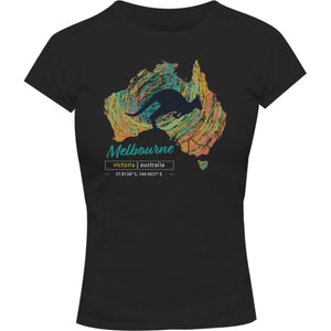 Melbourne Map Roo Swirl - Ladies Slim Fit Tee - Graphic Tees Australia