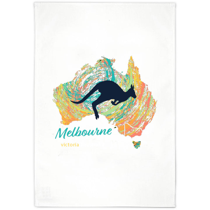 Melbourne Map Roo Swirl - Tea Towel - Graphic Tees Australia