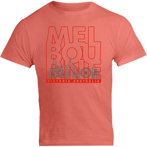 Melbourne Type Outline Skyline - Unisex Tee - Graphic Tees Australia