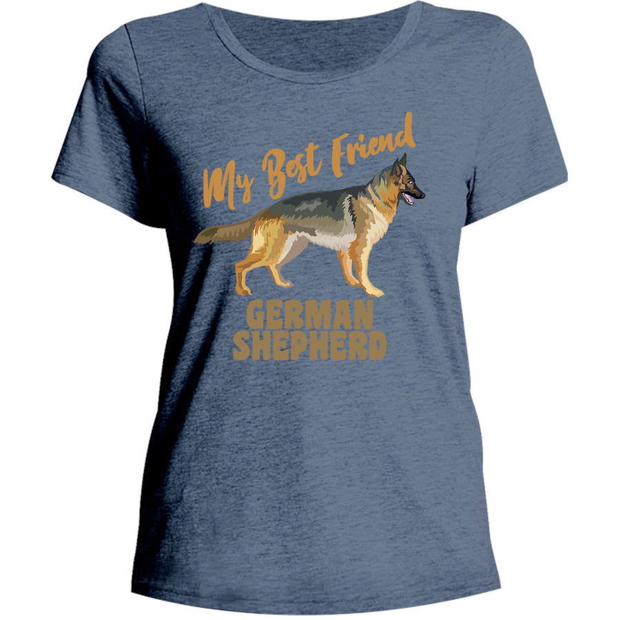 My Best Friend German Shepherd - Ladies Relaxed Fit Tee - Graphic Tees Australia