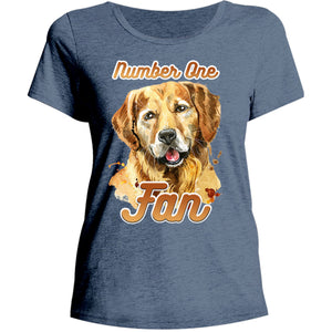 Number One Fan Golden Retriever - Ladies Relaxed Fit Tee - Graphic Tees Australia