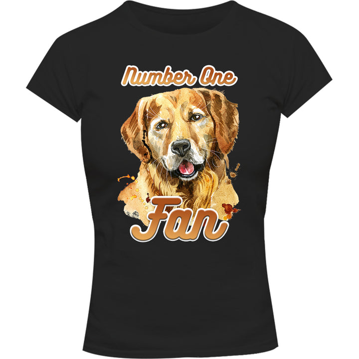 Number One Fan Golden Retriever - Ladies Slim Fit Tee - Graphic Tees Australia