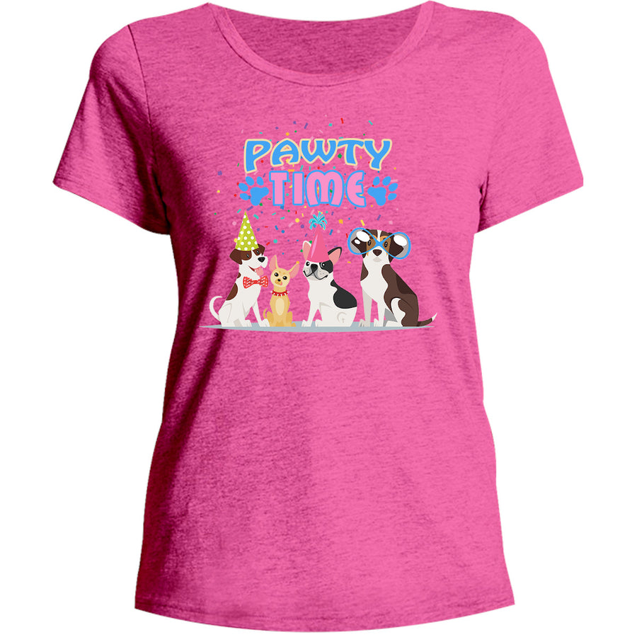 Pawty Time - Ladies Relaxed Fit Tee - Graphic Tees Australia