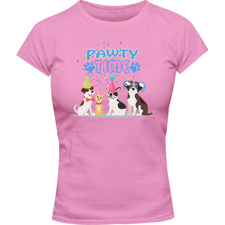 Pawty Time - Ladies Slim Fit Tee - Graphic Tees Australia