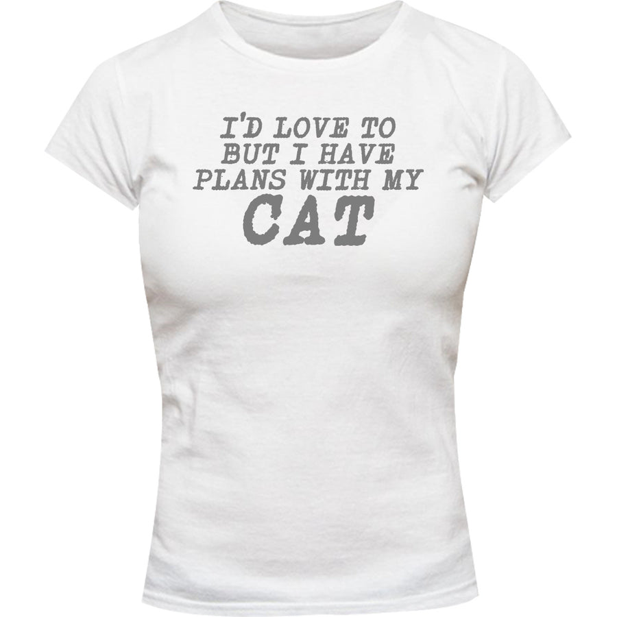 Plans With My Cat - Ladies Slim Fit Tee - Graphic Tees Australia