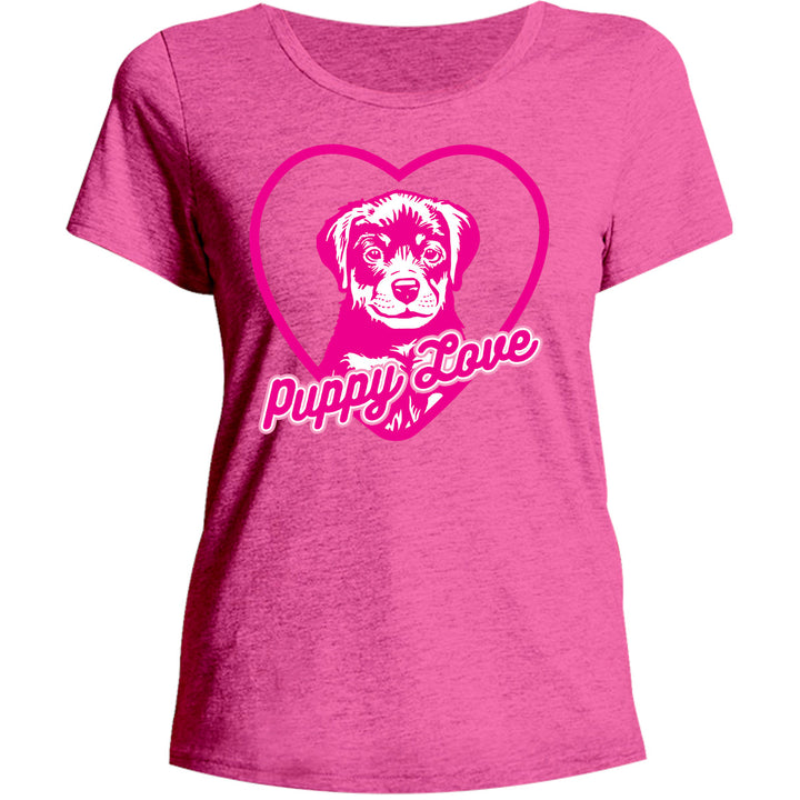 Puppy Love - Ladies Relaxed Fit Tee - Graphic Tees Australia