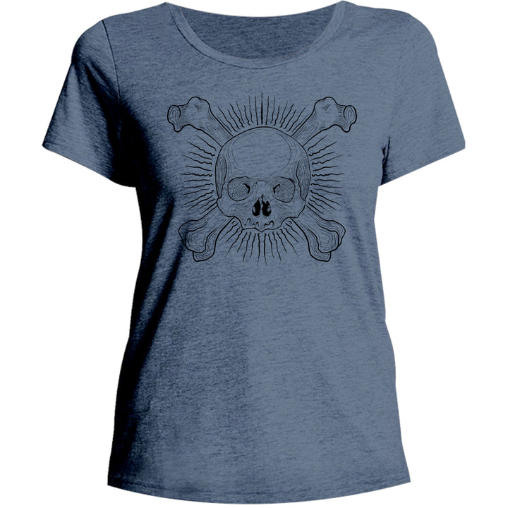 Skull And Bones - Ladies Relaxed Fit Tee - Graphic Tees Australia