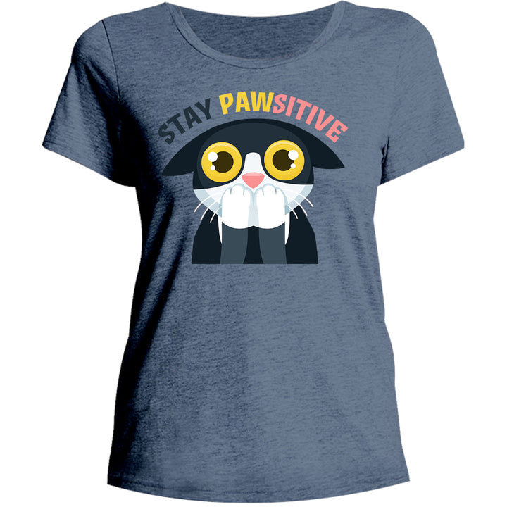 Stay Pawsitive - Ladies Relaxed Fit Tee - Graphic Tees Australia