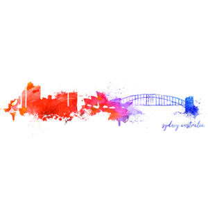Sydney Australia Painterly Skyline - Ladies Relaxed Fit Tee - Graphic Tees Australia