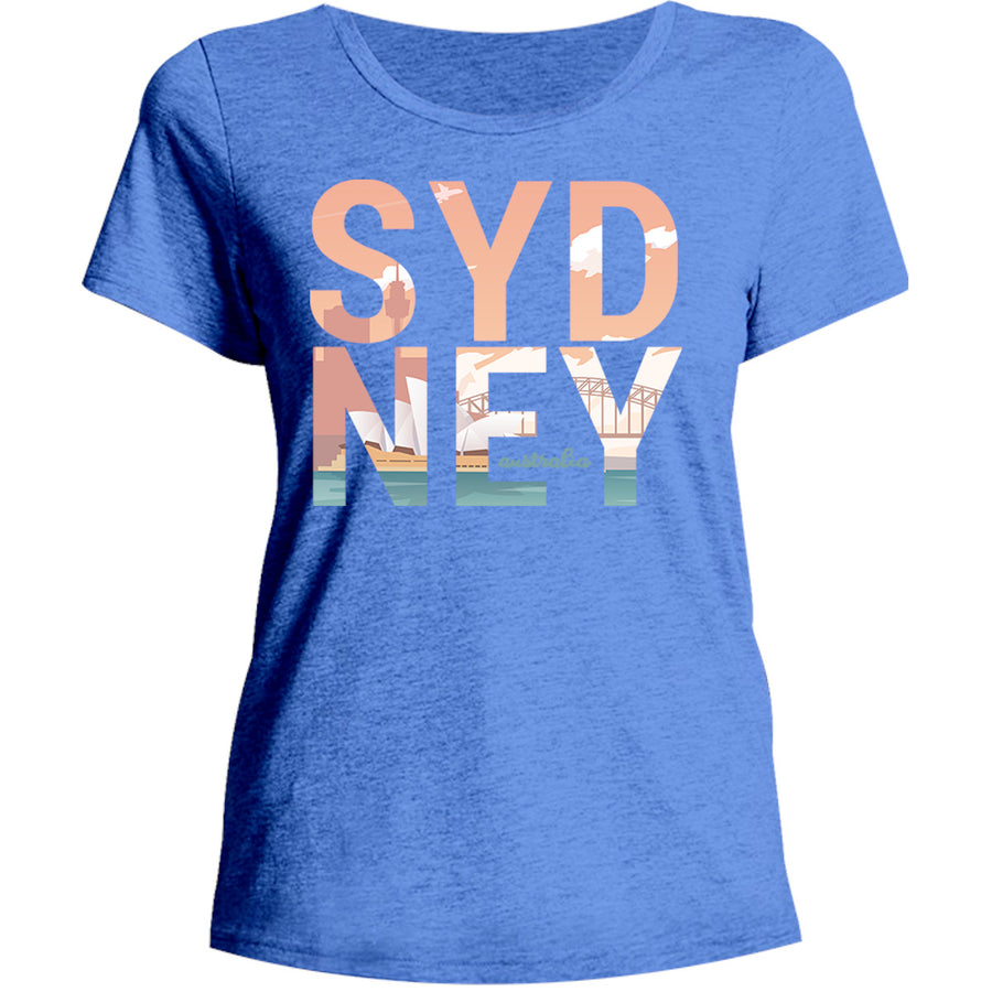 Sydney Australia Photo in Word - Ladies Relaxed Fit Tee - Graphic Tees Australia