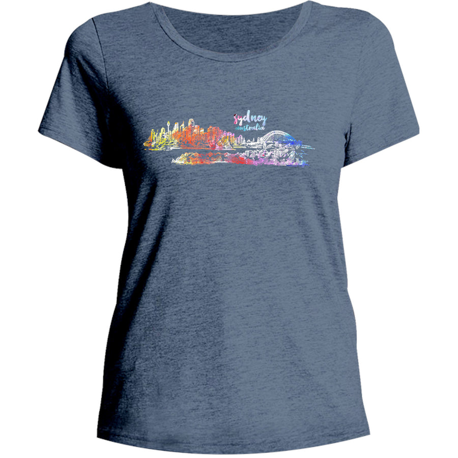 Sydney Australia Watercolour Sketch - Ladies Relaxed Fit Tee - Graphic Tees Australia