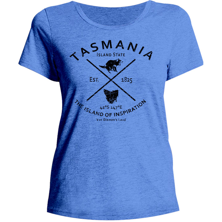 Tasmania Island State - Ladies Relaxed Fit Tee - Graphic Tees Australia