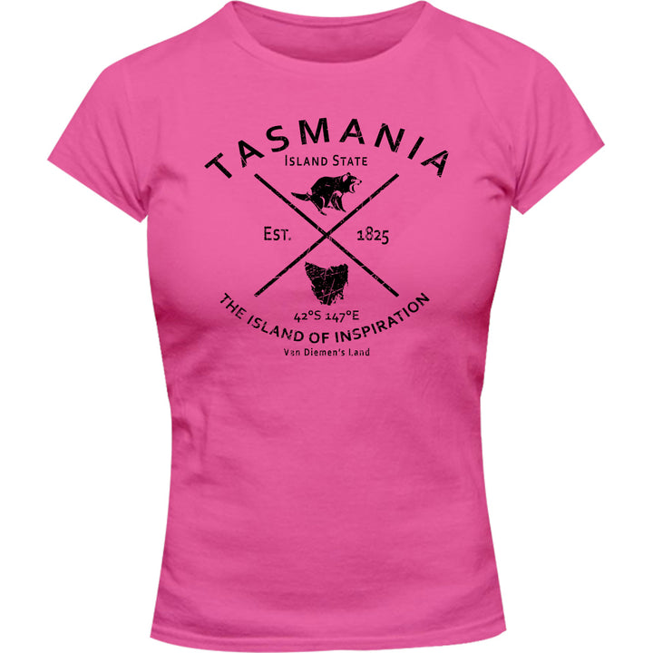 Tasmania Island State - Ladies Slim Fit Tee - Graphic Tees Australia